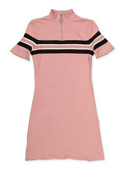 Girls 7-16 Striped Tape Detail T Shirt Dress - 3635051060121