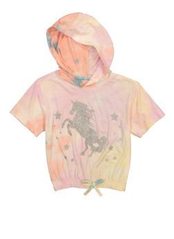 Girls Glitter Unicorn Hooded Top - 3635054730027