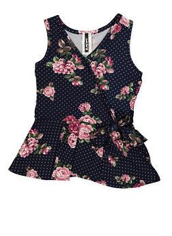 Girls 7-16 Printed Tie Front Peplum Top - 3635061950001