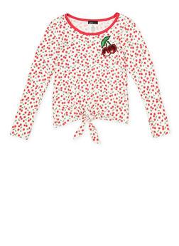 Girls 7-16 Cherry Print Tie Front Top - 3635061950105