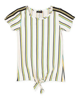 Girls 7-16 Vertical Stripe Tie Front Tee - 3635061950107