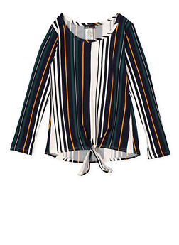 Girls 7-16 Tie Front Striped Top - 3635061950121