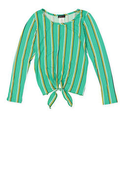 Girls 7-16 Striped Tie Front Top - 3635061950123