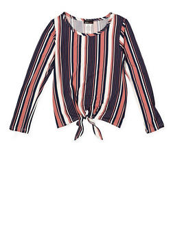 Girls 7-16 Striped Tie Front Top - 3635061950126
