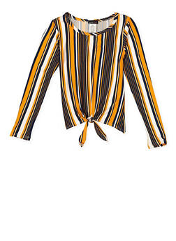 Girls 7-16 Striped Tie Front Top - 3635061950127