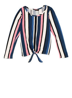 Girls 7-16 Striped Tie Front Top - 3635061950128