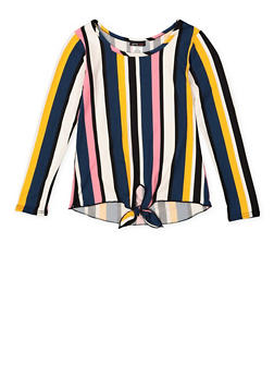 Girls 7-16 Striped Soft Knit Tie Front Top - 3635061950129