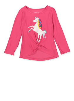 Girls 7-16 Glitter Pom Pom Unicorn Tee - 3635061950138