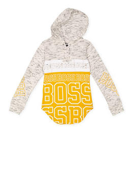 Girls 7-16 Graphic Lace Up Hooded Top - 3635063400011