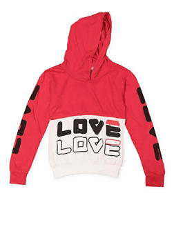 Girls 7-16 Love Graphic Hooded Top - 3635063400014
