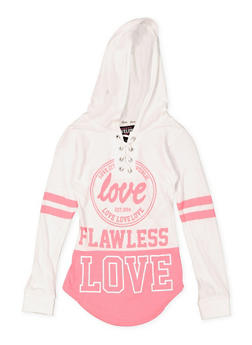 Girls 7-16 Graphic Lace Up Hooded Tee - 3635063400020