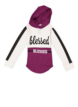 Girls 7-16 Blessed Graphic Hooded Tee - 3635063400022
