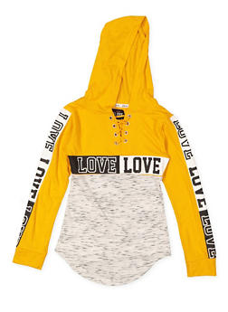 Girls 7-16 Graphic Lace Up Hooded Tee - 3635063400023