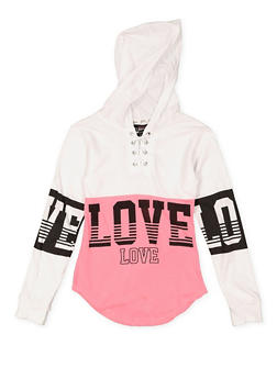 Girls 7-16 Love Graphic Lace Up Hooded Top - 3635063400024