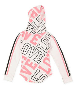 Girls 7-16 Love Graphic Hooded Top - 3635063400025