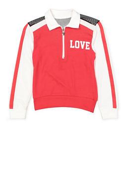 Girls 7-16 Love Mesh Yoke Half Zip Top - 3635063400034