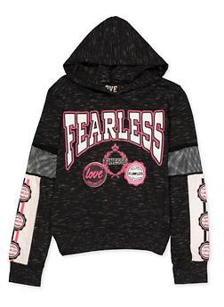 Girls 7-16 Fearless Fishnet Insert Hooded Top - 3635063400038
