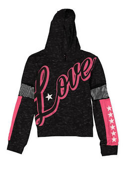 Girls 7-16 Love Mesh Insert Hooded Tee - 3635063400039