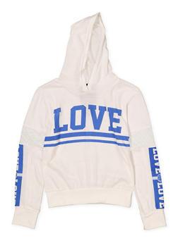 Girls 7-16 Love Mesh Insert Hooded Tee - 3635063400042