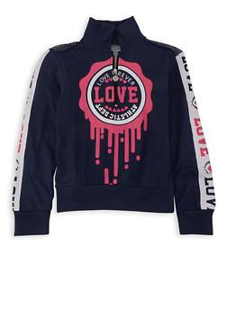 Girls 7-16 Love Mesh Yoke Half Zip Top - 3635063400046