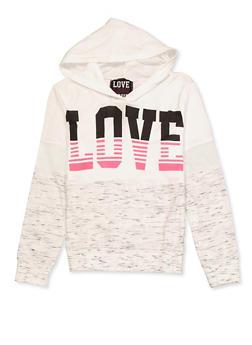 Girls 7-16 Color Block Love Hooded Top - 3635063400050