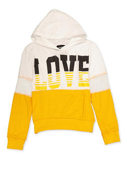 Girls 7-16 Color Block Love Hooded Top - 3635063400050