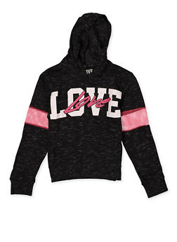 Girls 7-16 Love Graphic Fishnet Detail Hooded Top - 3635063400053