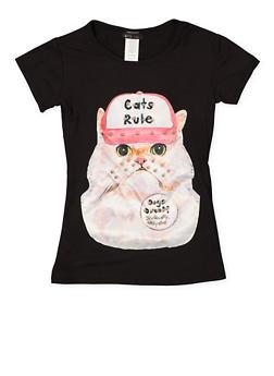 Girls 7-16 Cat Patch Tee - 3635066590061