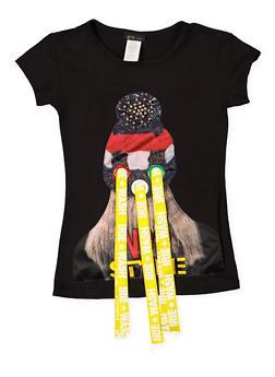 Girls 7-16 Graphic Ribbon Detail Tee - 3635066590062
