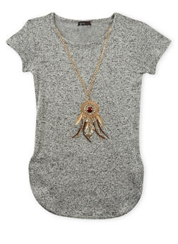 Girls 7-16 Marled Top with Removable Necklace - 3635066590133