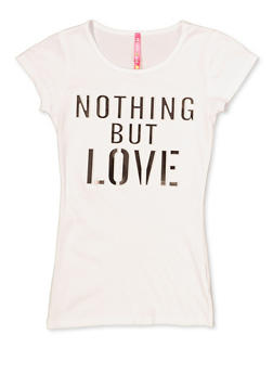 Girls 7-16 3D Foil Nothing But Love Tee - 3635066590282