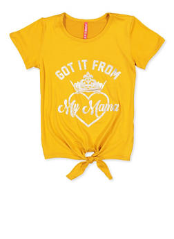Girls 7-16 Got It From My Mama Tie Front Tee - 3635066590286