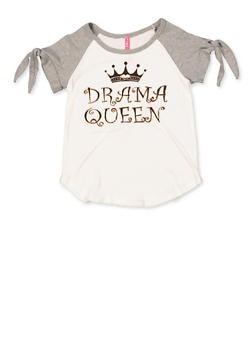 Girls 7-16 Drama Queen Split Tie Sleeve Tee - 3635066590296