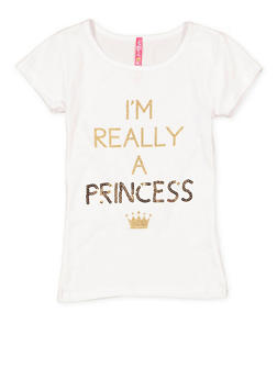 Girls 7-16 Sequin Princess Graphic Tee - 3635066590305