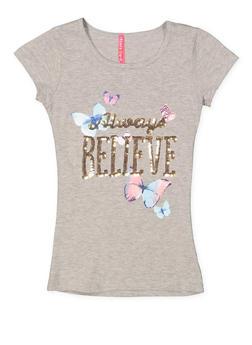 Girls 7-16 Sequin Graphic Tee - 3635066590308