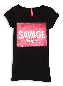 Girls 7-16 Reversible Sequin Graphic Tee - 3635066590310
