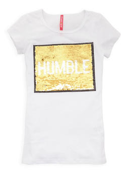 Girls 7-16 Reversible Sequin Graphic Tee - 3635066590314