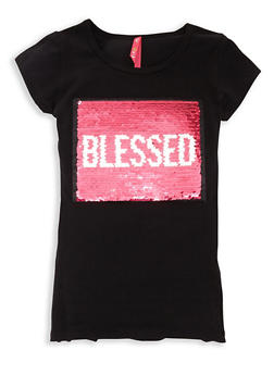 Girls 7-16 Reversible Sequin Blessed T Shirt - 3635066590315