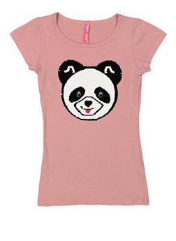 Girls 7-16 Reversible Sequin Panda Tee - 3635066590317