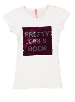 Girls 7-16 Reversible Sequin Graphic Tee - 3635066590337