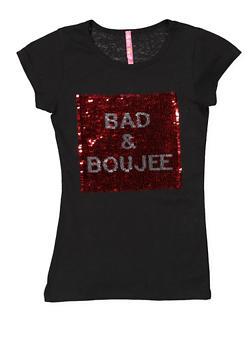 Girls 7-16 Reversible Sequin Graphic Tee - 3635066590339