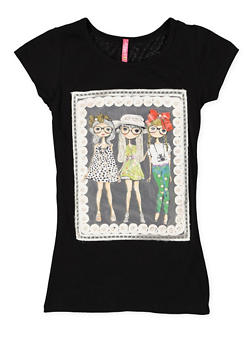 Girls 7-16 Mesh Faux Pearl Graphic Tee - 3635066590347