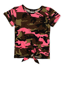 Girls 7-16 Soft Knit Tie Front Camo Tee - 3635066590355