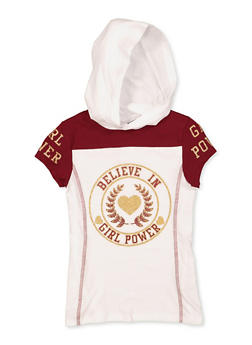 Girls 7-16 Believe in Girl Power Hooded Tee - 3635066590366
