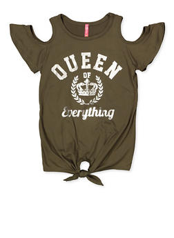Girls 7-16 Queen of Everything Cold Shoulder Top - 3635066590373