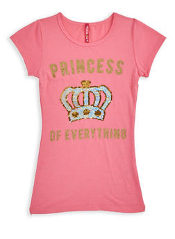 Girls 7-16 Princess of Everything Reversible Sequin Tee - 3635066590381