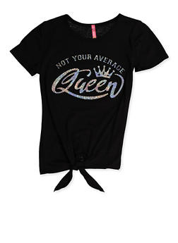 Girls 7-16 Not Your Average Queen 3D Foil Graphic Tee - 3635066590385