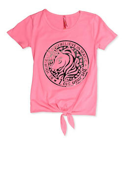 Girls 7-16 Unicorn Emblem 3D Graphic Tee - 3635066590386
