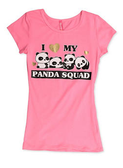 Girls 7-16 I Heart My Panda Squad Tee - 3635066590390