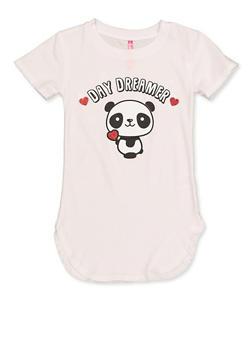 Girls 7-16 Round Hem Panda Graphic Tee - 3635066590394